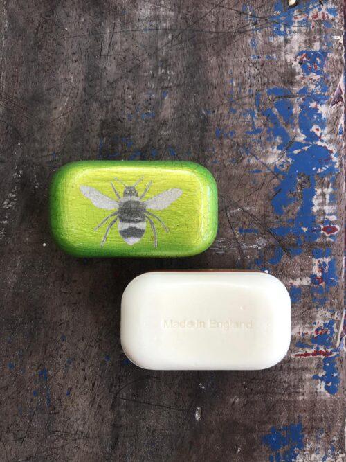 decoupage soap of a bee