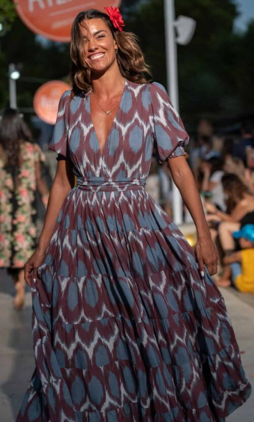 purple and brown dress in an ikat print