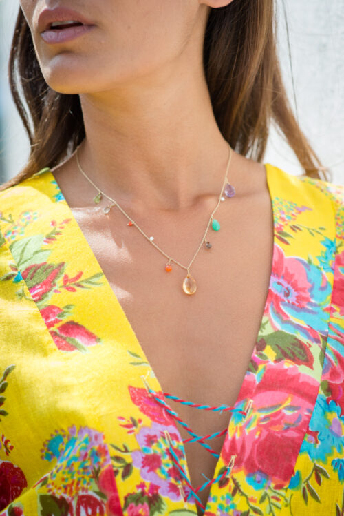 dainty necklace with a large centre citrine stone