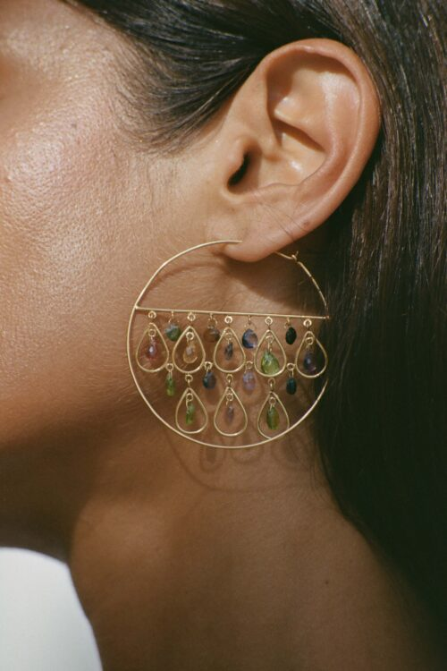 gold hoop earrings with gemstones
