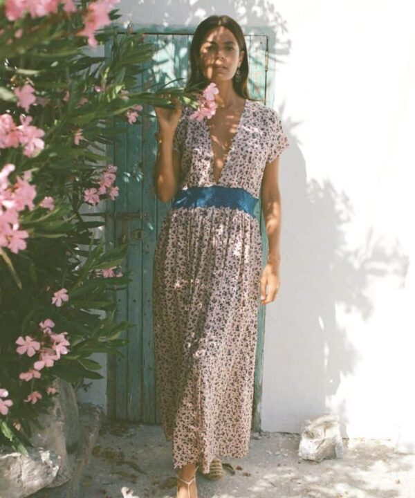 silk dress in a beautiful print with a lace waistband