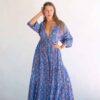 Kimono Dress Blue Orange Floral La Galeria Elefante Ibiza front view