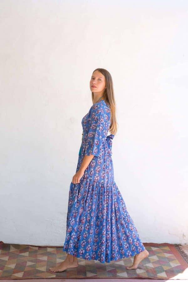 Kimono Dress Blue Orange Floral La Galeria Elefante Ibiza side view