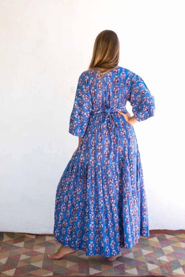 Kimono Dress Blue Orange Floral La Galeria Elefante Ibiza back view