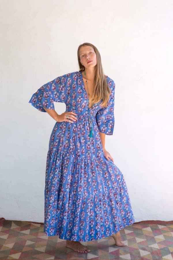 Kimono Dress Blue Orange Floral front