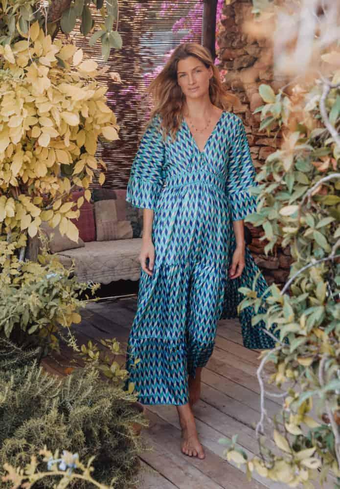 KTF Blue Geometric Maxi Dress