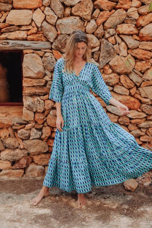 KTF Blue Geometric 3 Tier Kimono