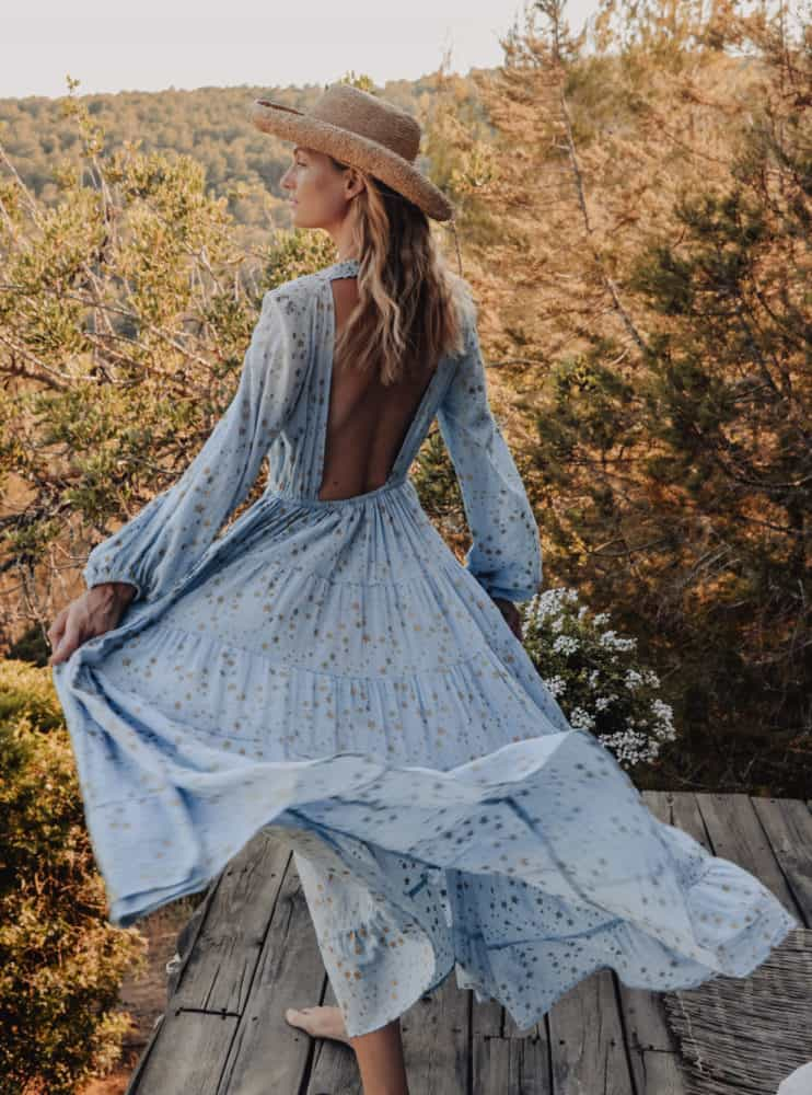 long sleeved dress with open back