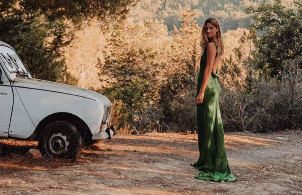 Silk emerald green backless dress with train