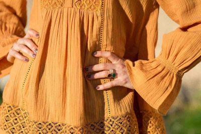orange tunic with lace