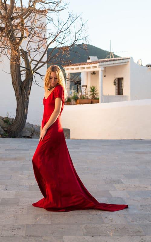 silk dress with train