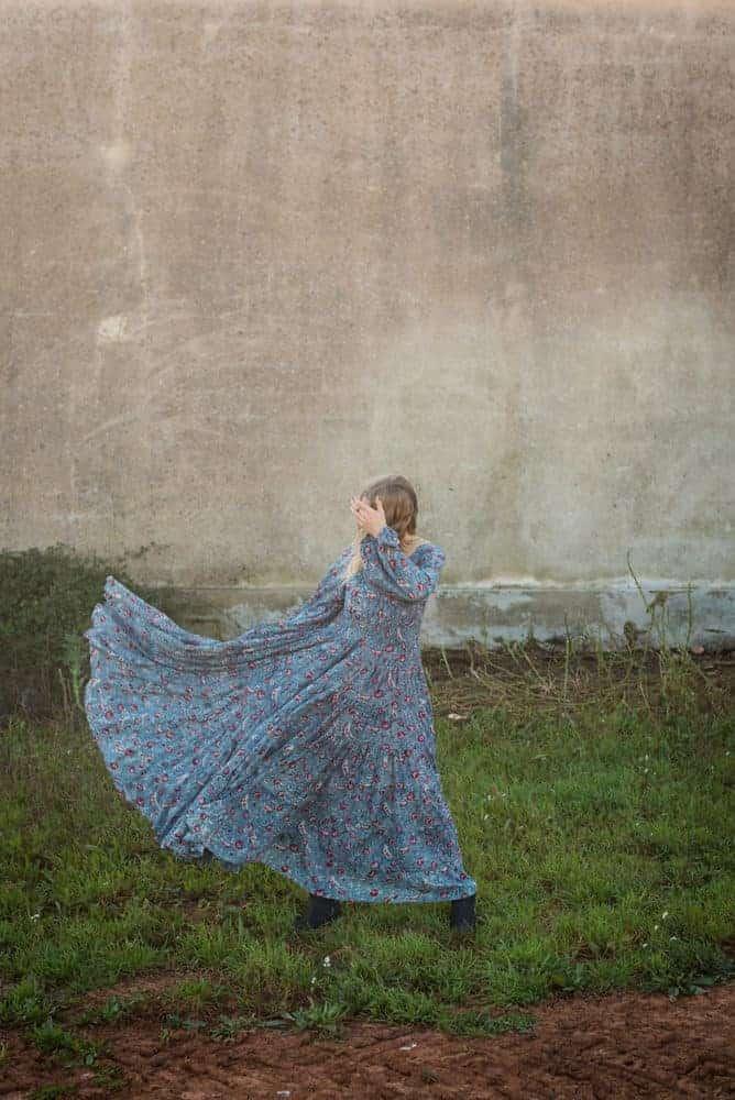 blue floral floaty dress