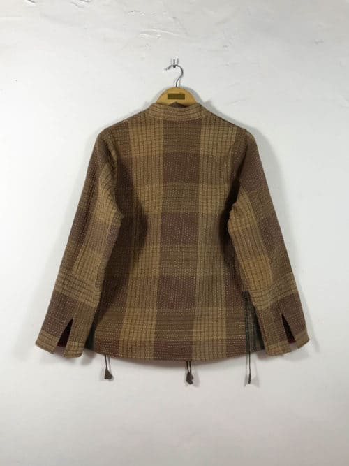 checked brown jacket