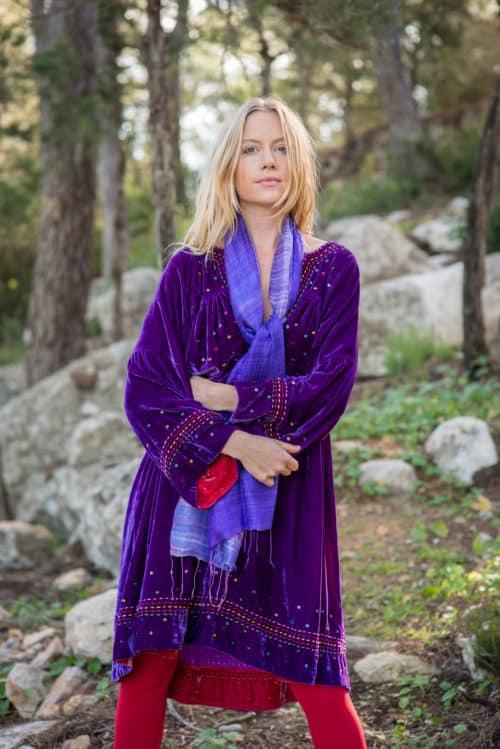 silk velvet tunic with kantha stitch