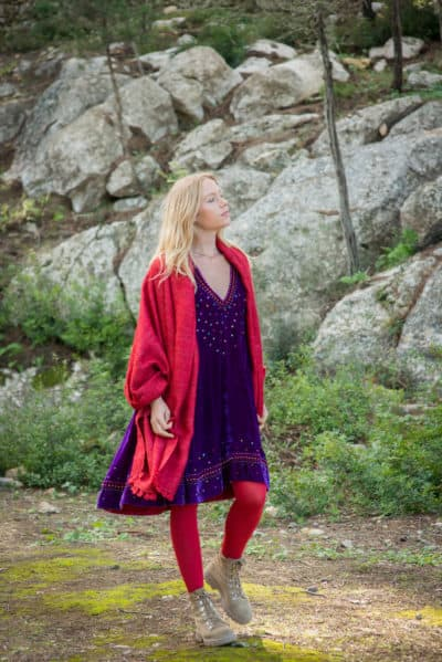 red shawl and purple tunic