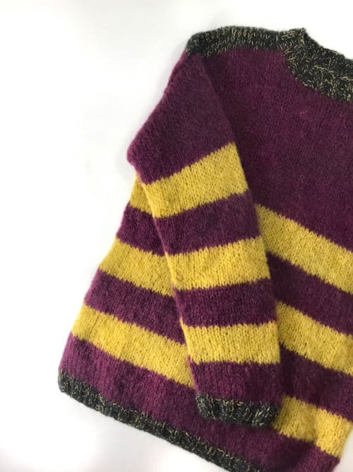 burgundy and yellow jumper