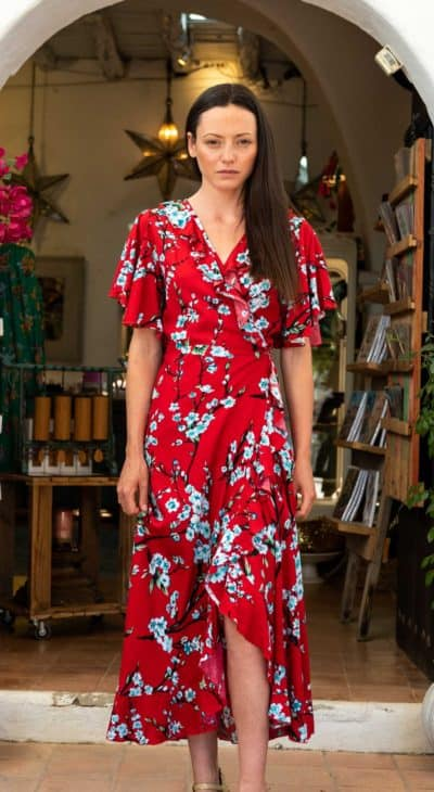 Long red floral wrap around summer dress