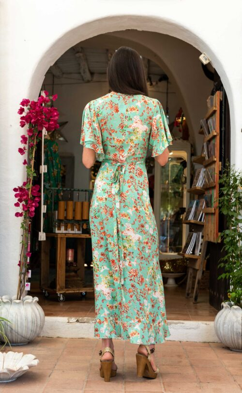 wrap around turquoise floral dress