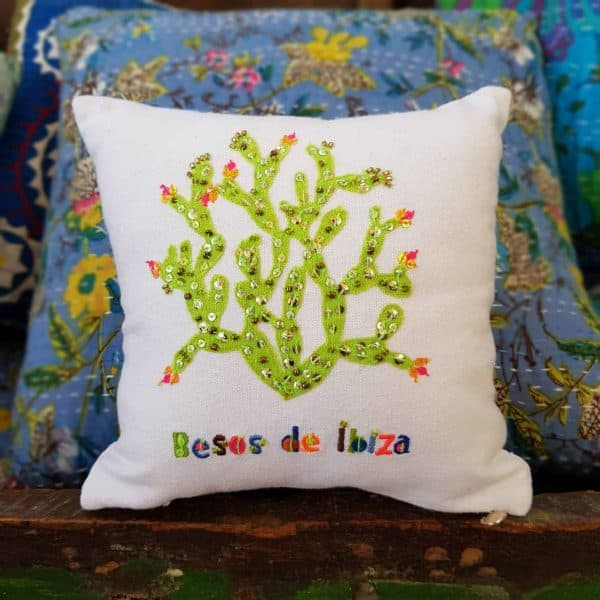 embroidered cactus on a cushion